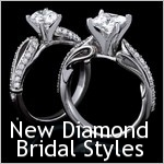 New Diamond Bridal Styles. Vintage inspired romantic styles with designs that conveys intense passion. Center Diamond or Gemstone are sold separatley.