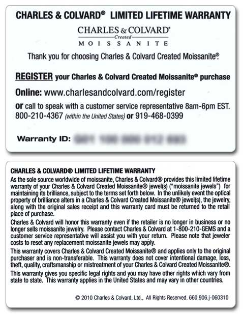 mansfield designs moissanite lifetime limited warraty by charles colvard